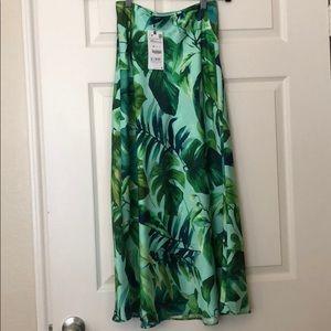 NWT Zara leaf print midi silk skirt sz XS